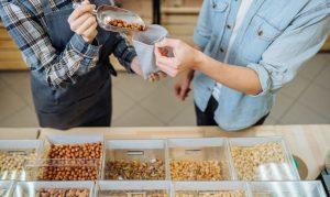 Various nuts in supermarket
